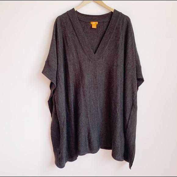 oversized charcoal knit tunic/cape/poncho